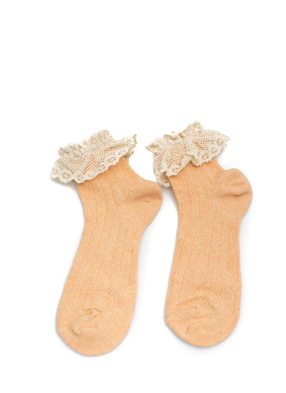 Crochet Lace Ruffle Ankle Socks PEACH