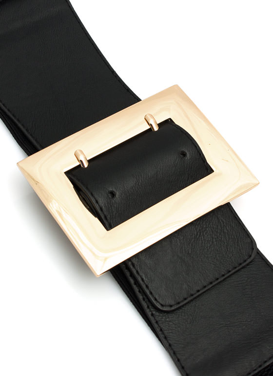 Stretchy Extra Wide Box Buckle Belt BLACKGOLD