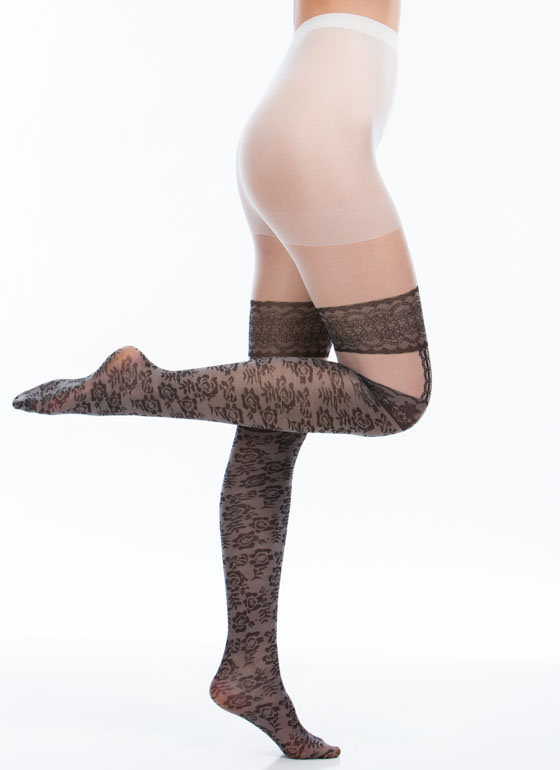 Rose Print Lace Garter Tattoo Tights BLACKWHITE