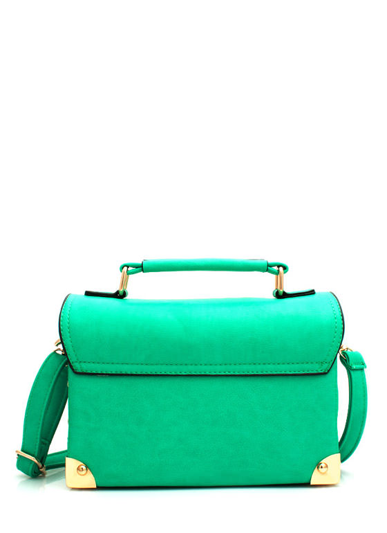 Faux Leather Structured Satchel MINT