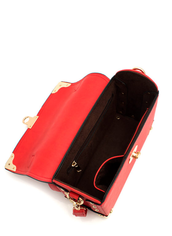 Faux Leather Structured Satchel RED