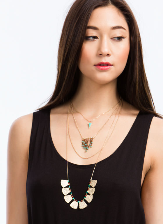 Layered Tribal Beaded Necklace GOLDTURQ