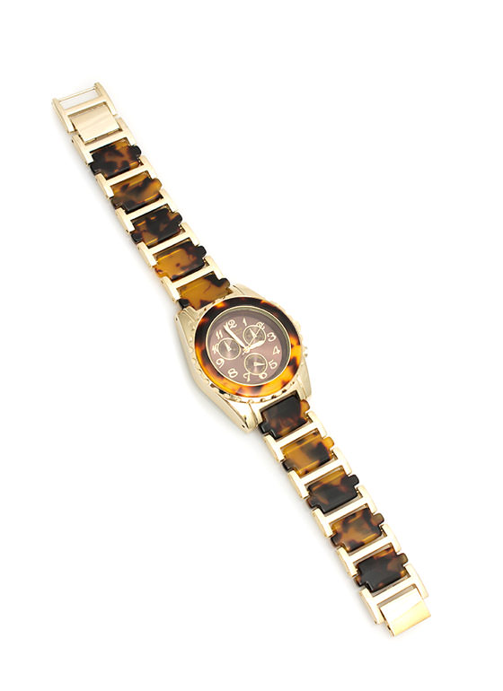 Tortoise Shell Boyfriend Watch LEOGOLD