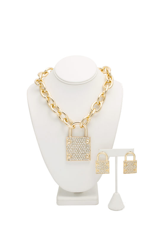 Jeweled Lock Charm Necklace Set GOLD