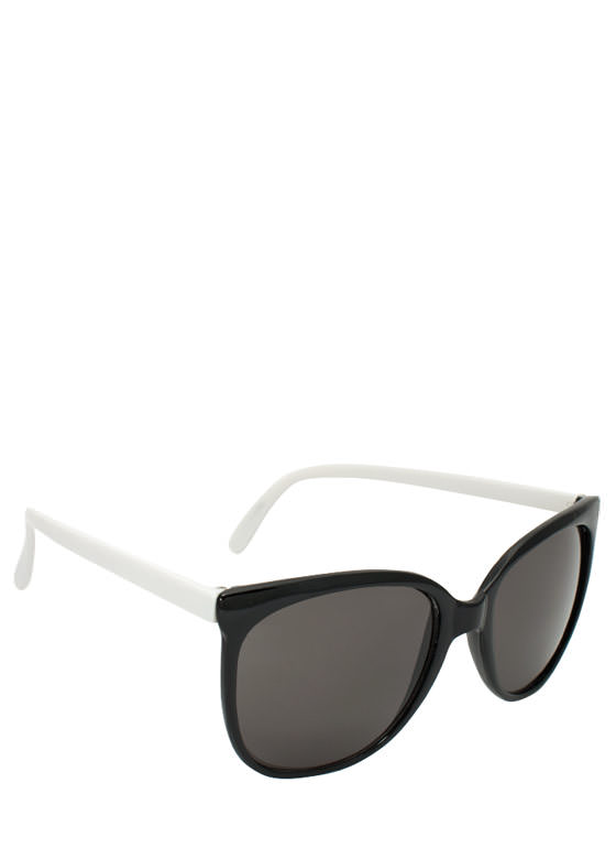 Slim Rounded Sunglasses BLACKWHITE