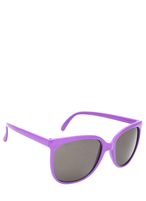 Slim Rounded Sunglasses PURPLE