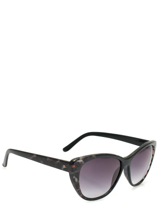 Patterned Cat Eye Sunglasses BLACKGREY