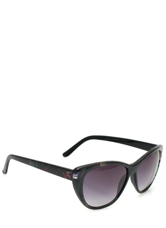 Patterned Cat Eye Sunglasses BLACKMULTI