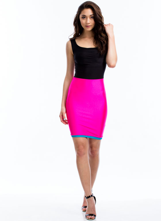 Triple Threat Bodycon Dress PINKBLACK