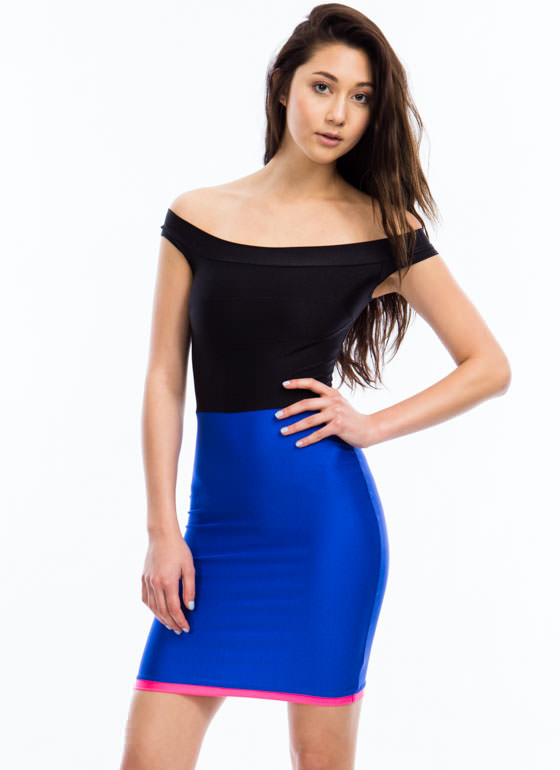 Triple Threat Bodycon Dress ROYAL