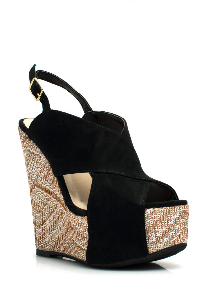 Crisscross My Heart Woven Wedges BLACK