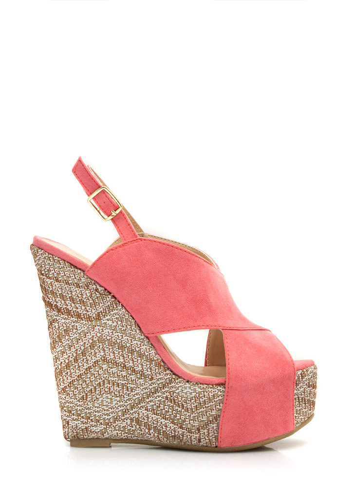 Crisscross My Heart Woven Wedges ROSE