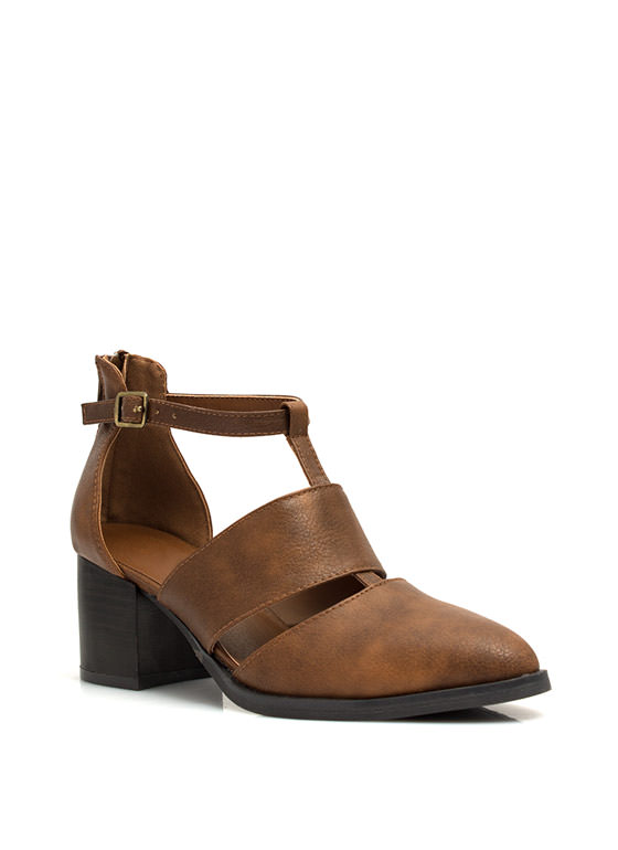 Perfect Slit Cut-Out Booties COGNAC