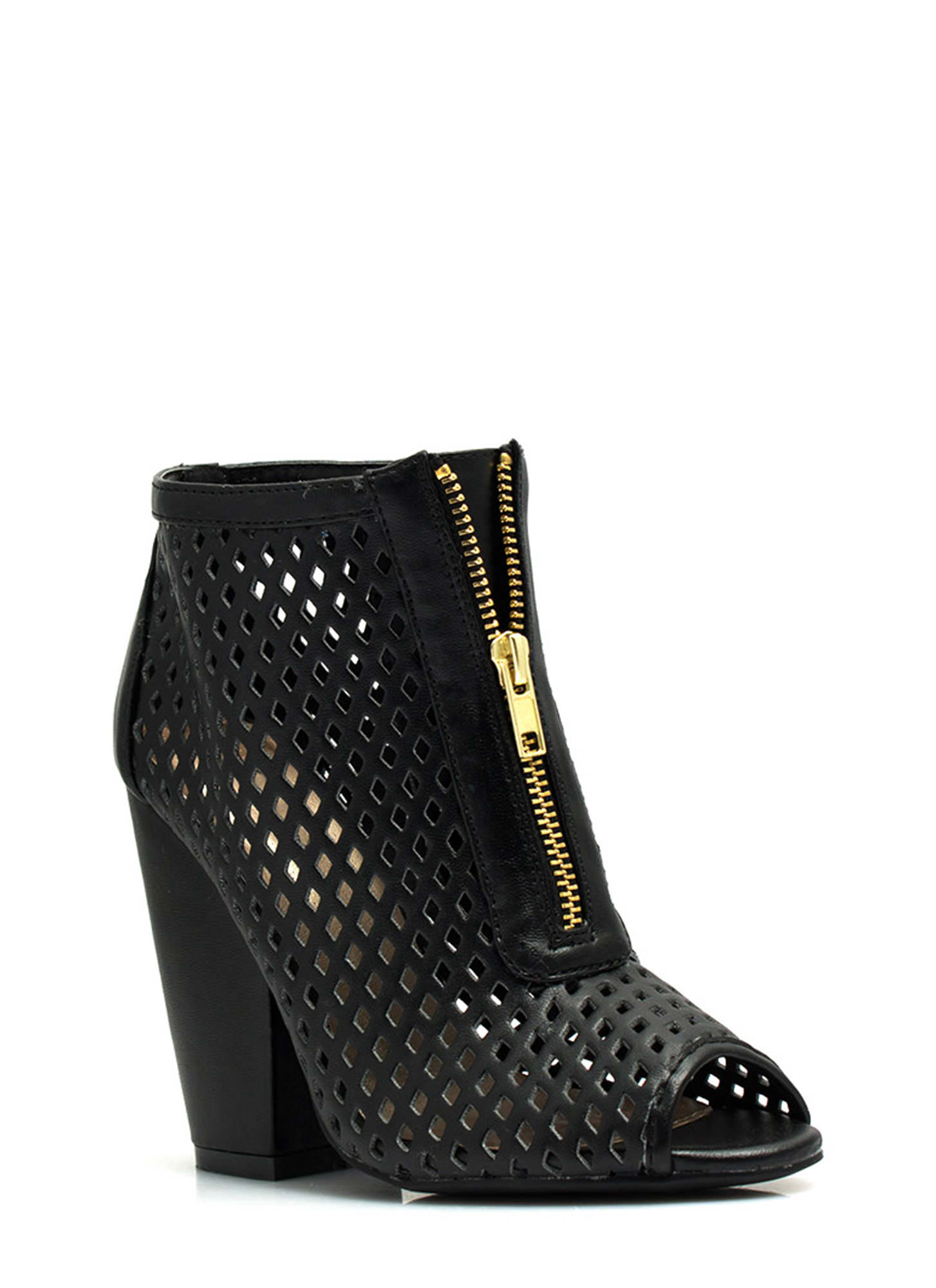 Diamond Lane Laser Cut-Out Booties BLACK