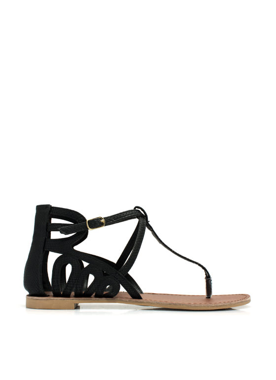 Partner In Crime Laser Cut-Out Sandals BLACK