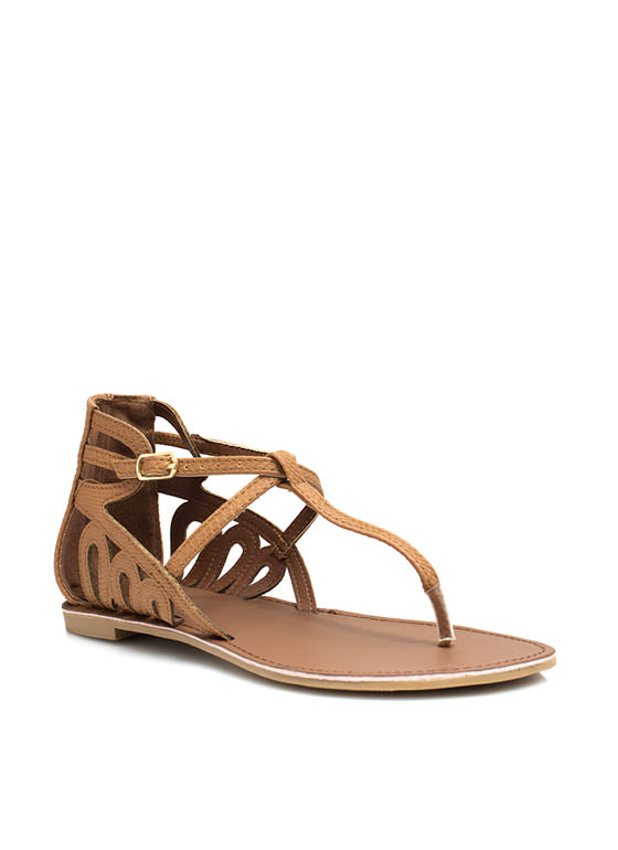 Partner In Crime Laser Cut-Out Sandals CAMEL