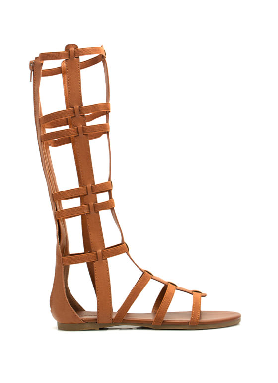 Windowpane Gladiator Sandals CHESTNUT