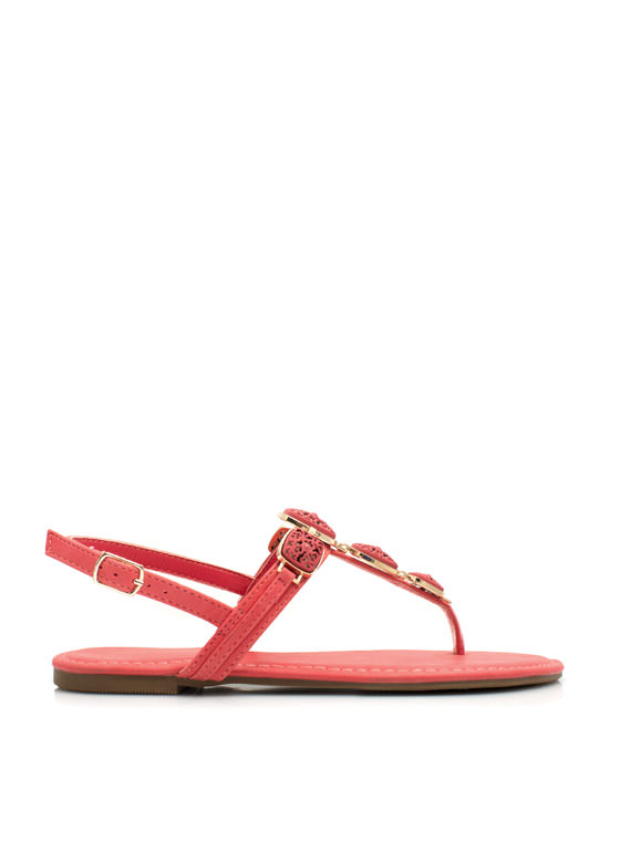 Floral Cut-Out Ornamented Sandals CAYENNE