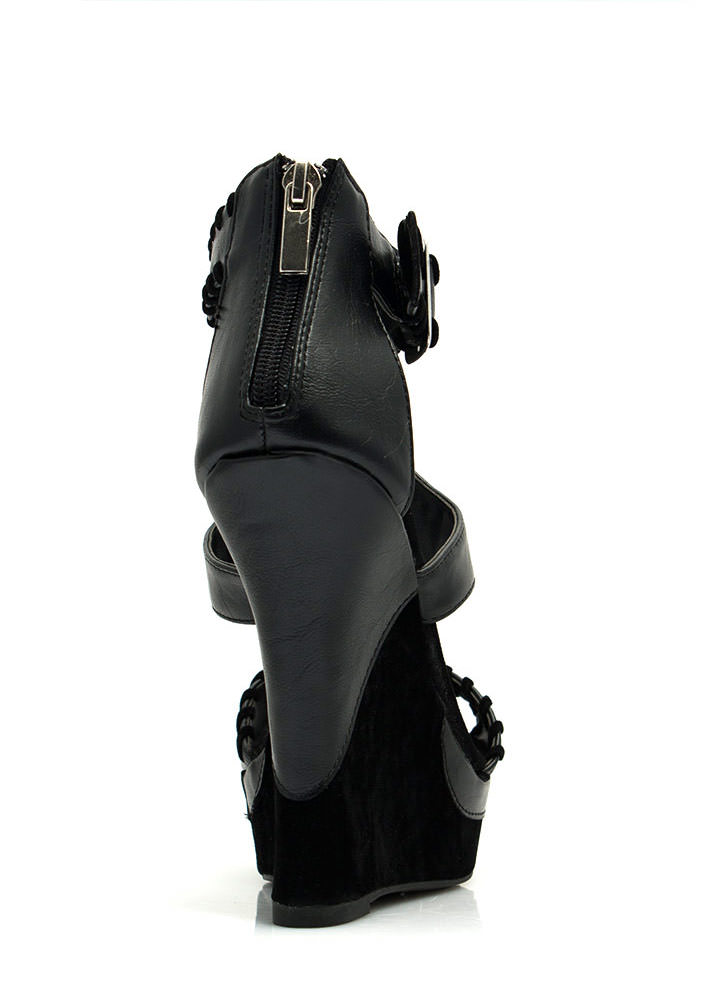 Ornamented Stitch Platform Wedges BLACK