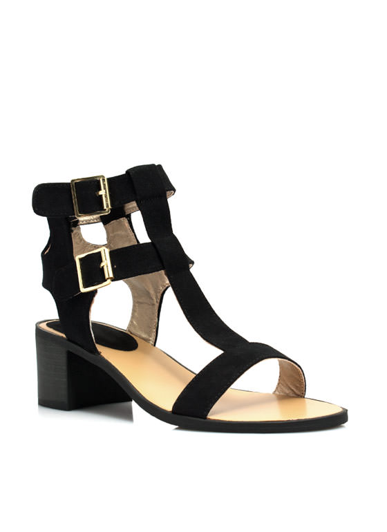 Straight Bordered Chunky Heels BLACK