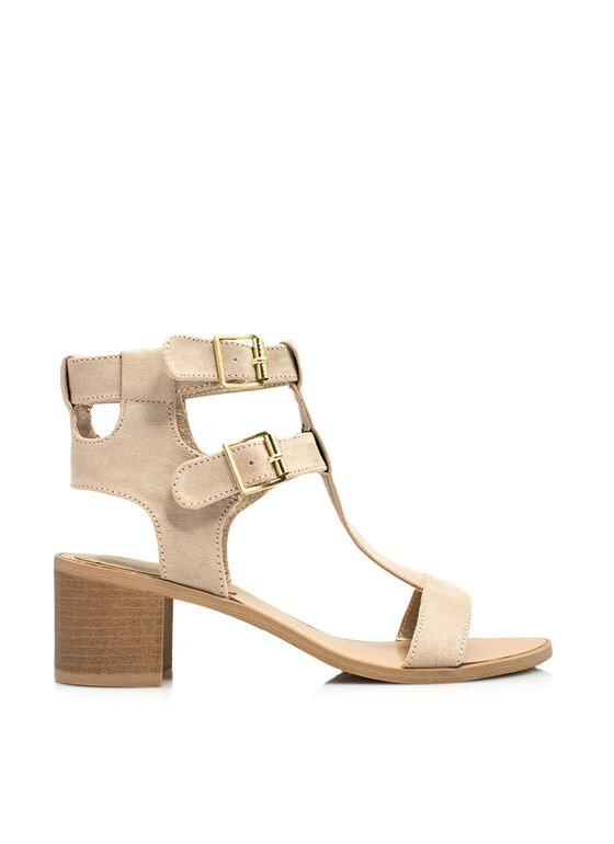 Straight Bordered Chunky Heels TAUPE