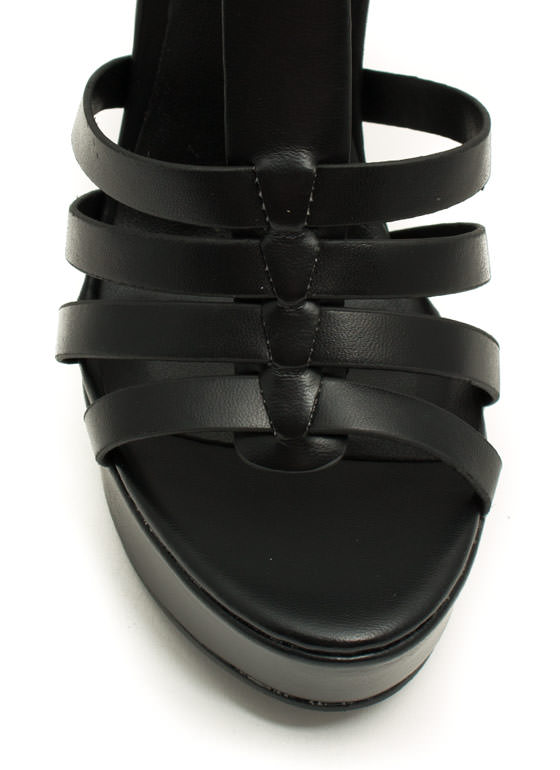 Ladder Strapped Platform Heels BLACK