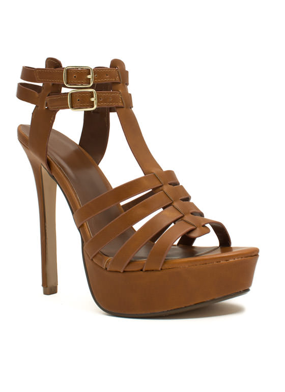 Ladder Strapped Platform Heels TAN