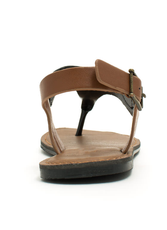 Mixed Media Tapered Sandals BLACKTAN