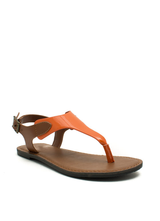 Mixed Media Tapered Sandals ORANGETAN