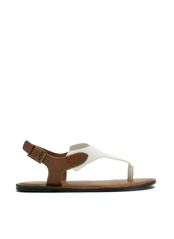 Mixed Media Tapered Sandals WHITE