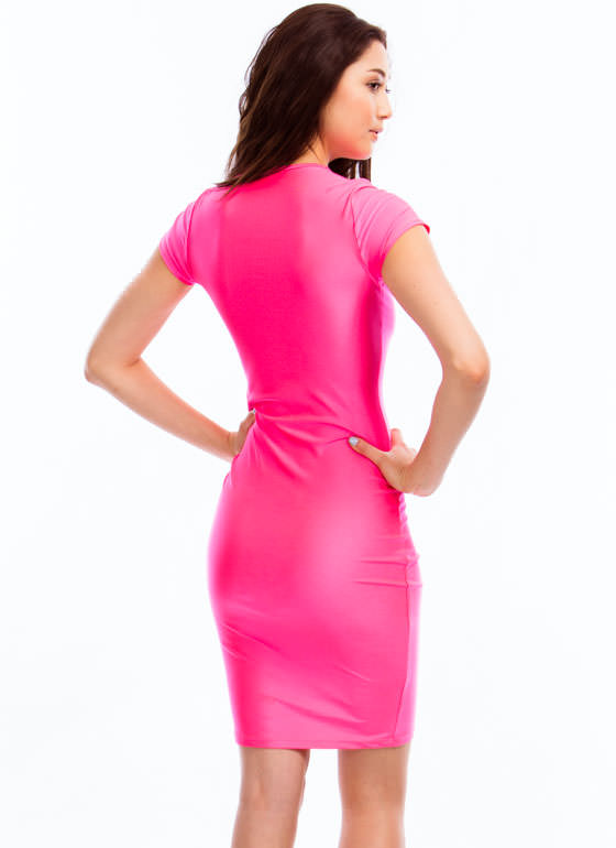 Rung Number Laddered Cut-Out Dress PINK