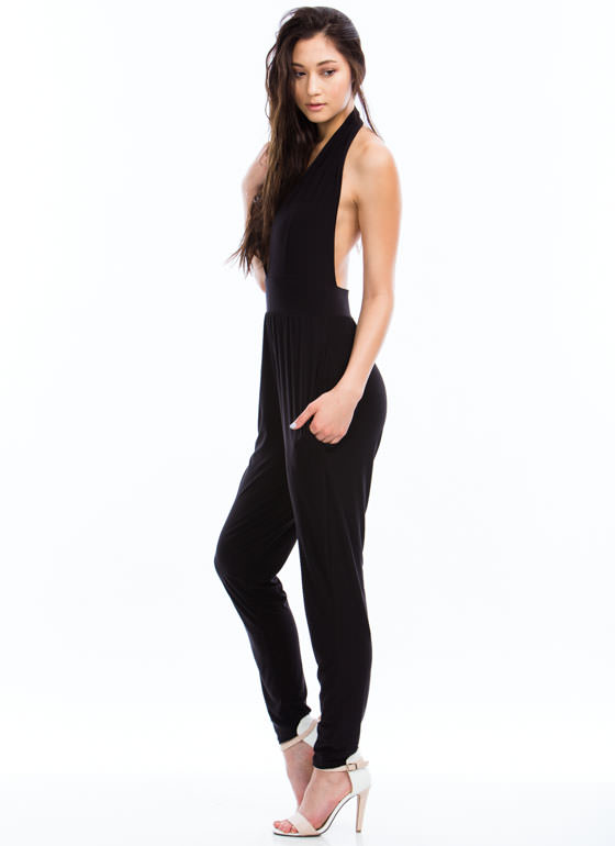 Taking The Plunge Halter Jumpsuit BLACK