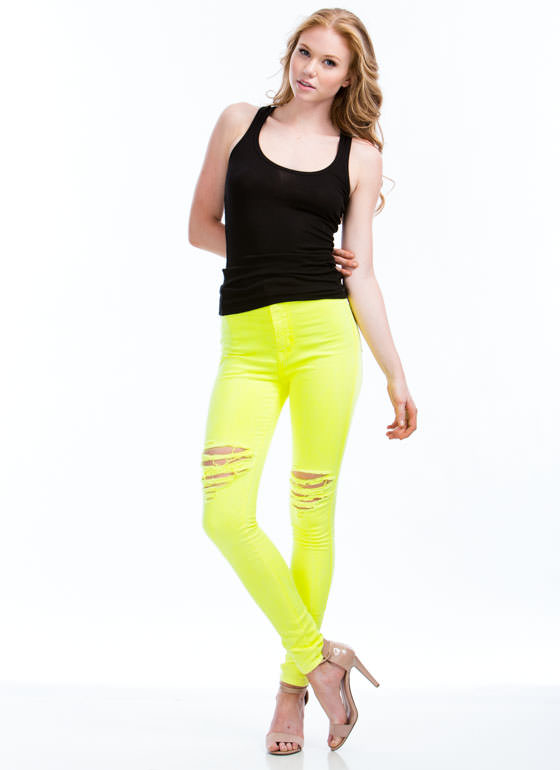 Neon Of Ur Business Jeans NEONYELLOW