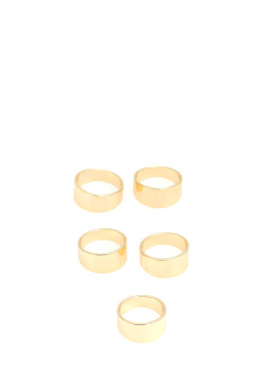 Flat-Banded Five Ring Set GOLD