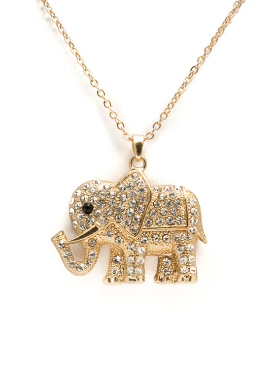 Jeweled Elephant Charm Necklace GOLD