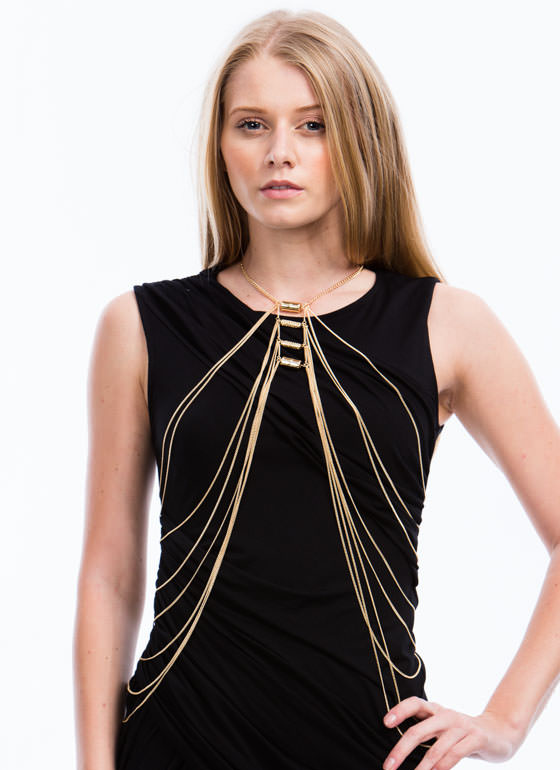 Beaded Draped Waterfall Body Chain GOLD