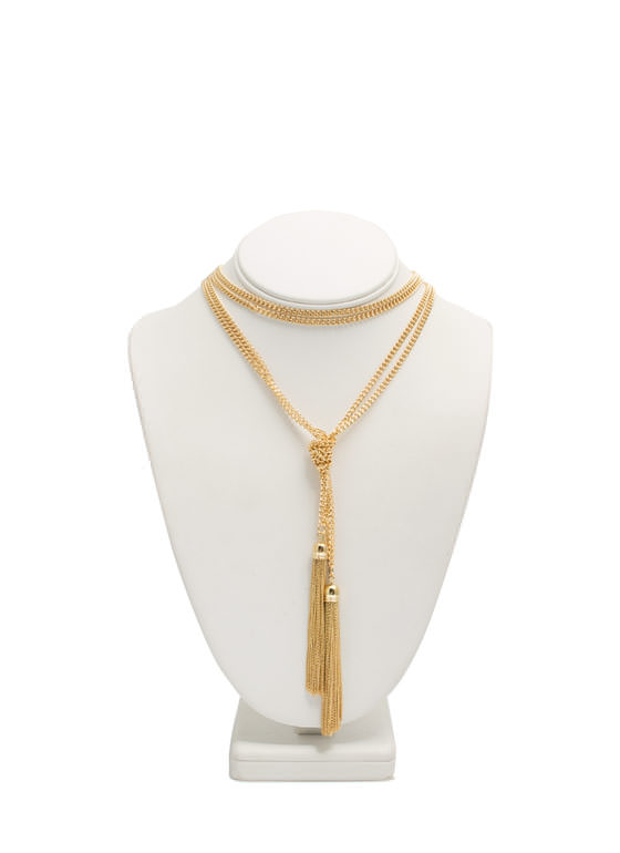 Knotted Tassel Fringe Chain Necklace GOLD