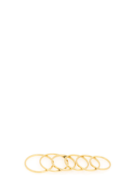 Shiny Skinny-Banded Six Ring Set GOLD