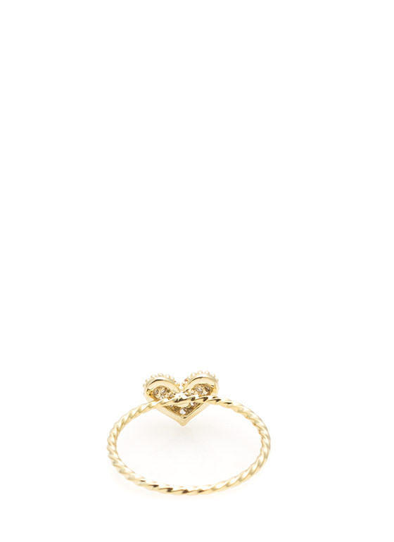 Skinny Twisted Jeweled Heart Ring GOLD