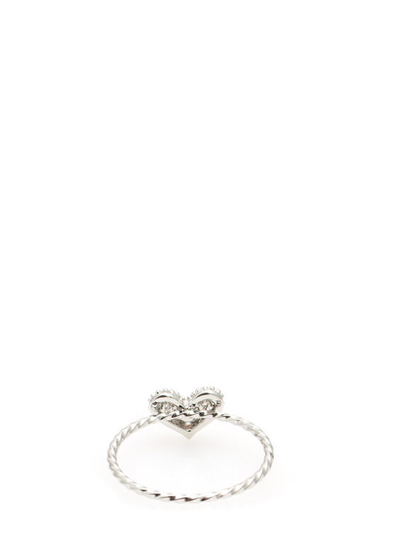 Skinny Twisted Jeweled Heart Ring SILVER