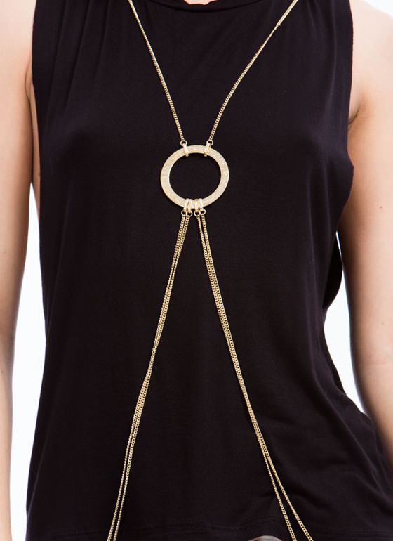 Textured Hoop Body Chain GOLD