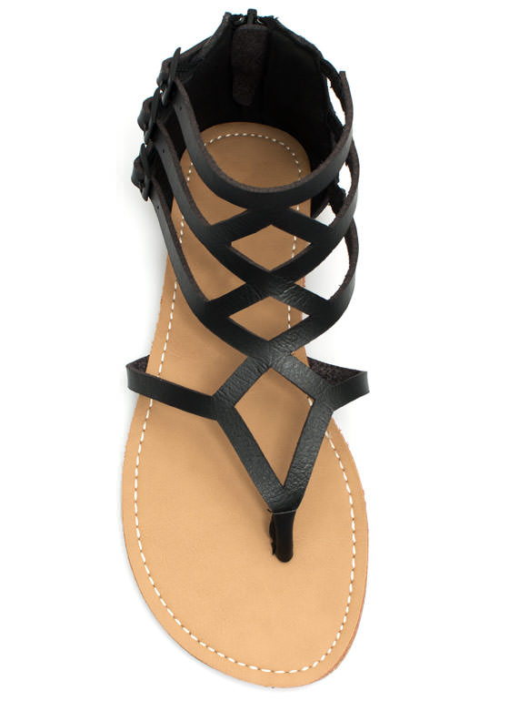 To Diamond For Strappy Caged Sandals BLACK
