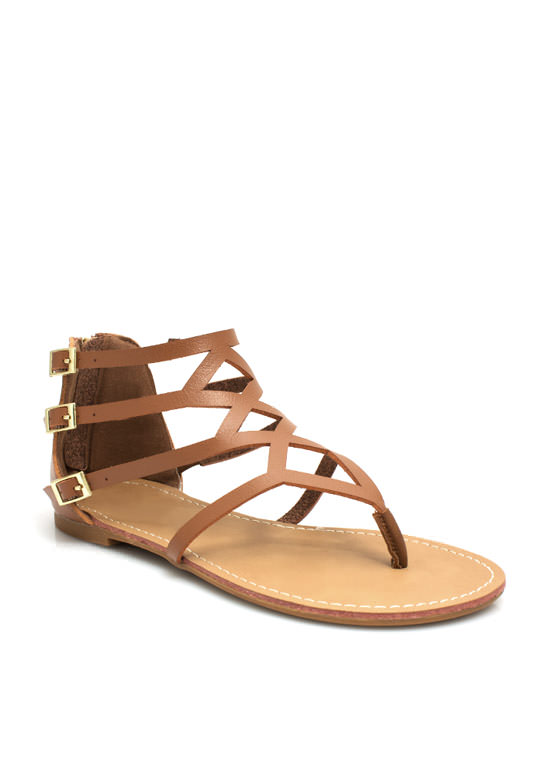 To Diamond For Strappy Caged Sandals CHESTNUT