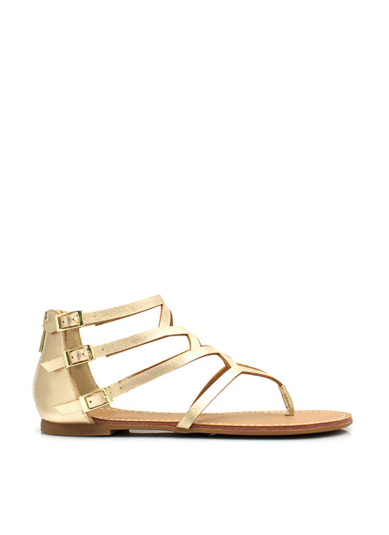 To Diamond For Strappy Caged Sandals GOLD