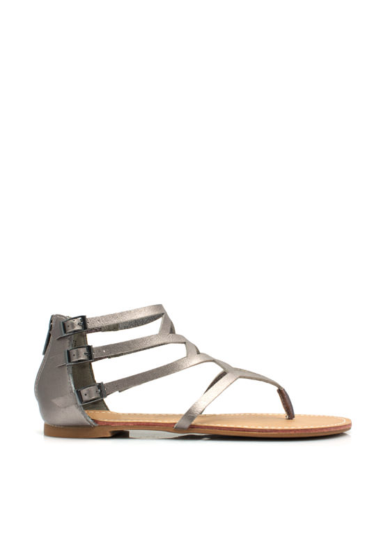 To Diamond For Strappy Caged Sandals PEWTER