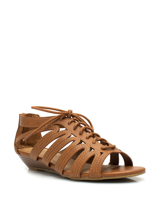 Feeling Loopy Strappy Lace-Up Wedges CHESTNUT
