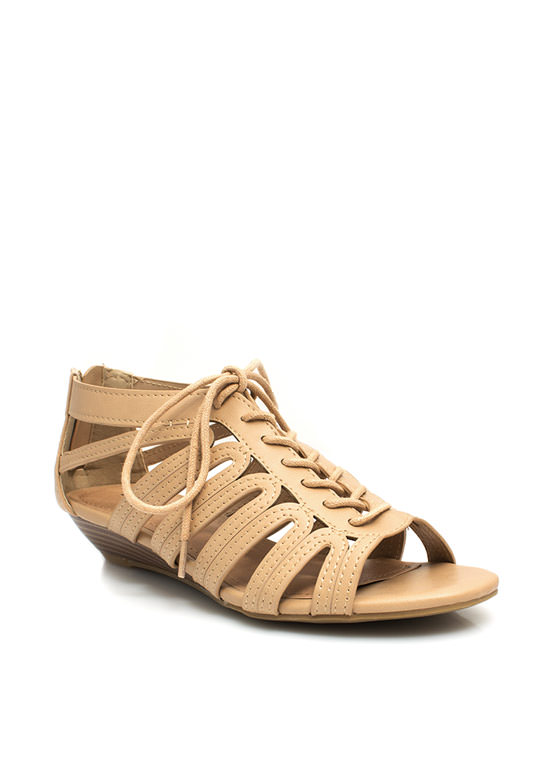Feeling Loopy Strappy Lace-Up Wedges SAND