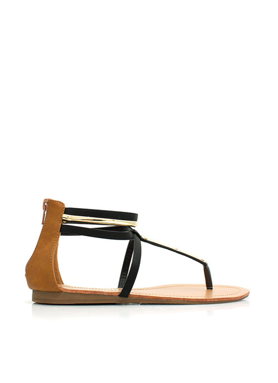 Metallic Accent Crisscrossed Sandals BLACK