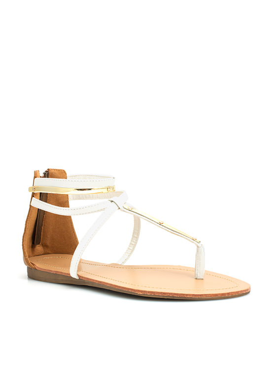 Metallic Accent Crisscrossed Sandals WHITE