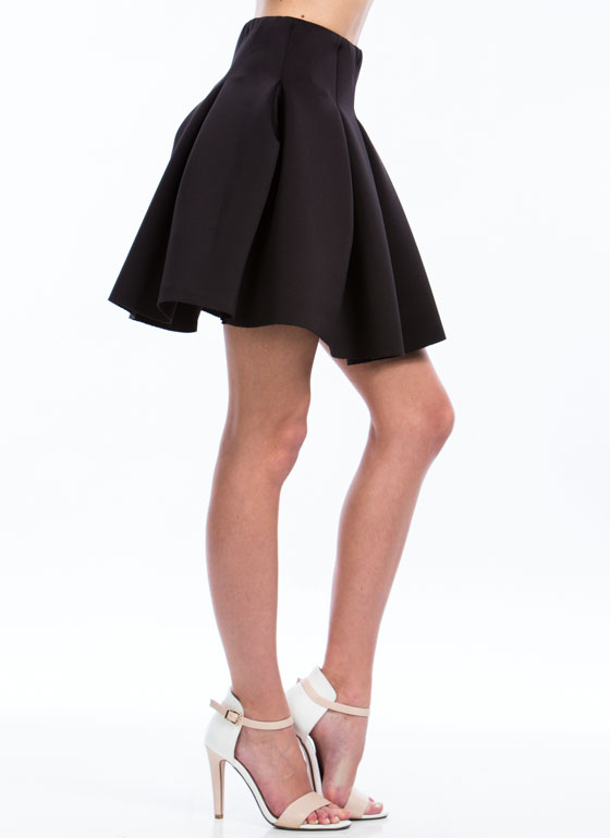 Say Pleats Fit N Flare Skirt BLACK